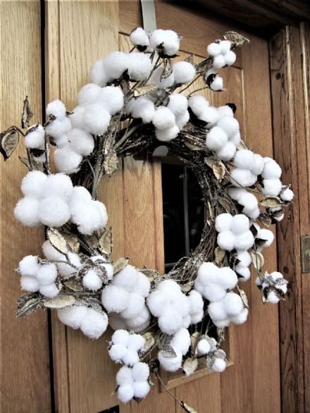 50 cm Cotton Snowball Christmas Winter Wonderland Wreath